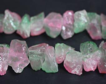 13-15mm width X 20-25mm length Titanium Coated Mystic Drilled Crystal Nugget Quartz Points Matte Beads ,Rainbow Quartz,Full strand