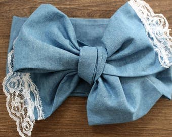Light wash jeans and lace self tie headwrap, toddler head wrap, jean fabric, jean head wrap, jeans and lace bows, lace bows
