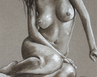 Pastel, unique drawing of a female nude drawing of a seated nude woman, original artwork