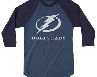 Bolts Baby Tampa Bay Lightning Hockey 3/4 sleeve Mens raglan shirt