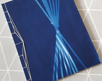 A cute notebook, cyanotype, japanese binding, 14,5x18.5 cm