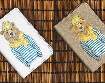 Bear Hipster Passport Holder Leather Passport Cover Passport Case Passport Pouch Wallet Travel Passport Purse Travel Accessories Travel Gift