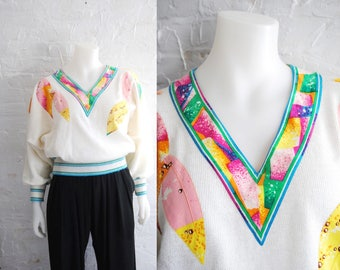 80s Bat Wing Sweater With Floral Patches -- vintage, pastel, v neck, leaves, silk scarf, colourful, 1980s 80s, medium