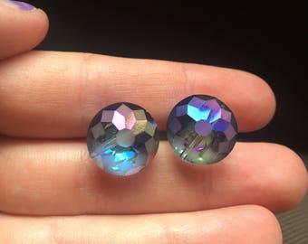 Blue Iridescent Stud Earrings