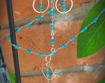 Elegant sterling silver turquoise earrings.