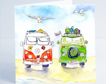 VW Camper Life  - Greeting Card - Taken from an original watercolour by Sheila Gill