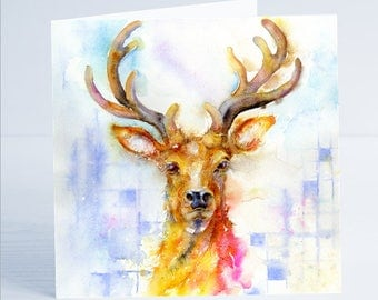 Stag - Greeting Card - Taken from an original Sheila Gill Watercolour Painting.