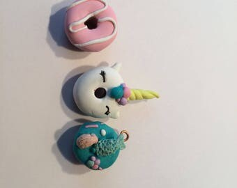 mermaid, unicorn, swirl donut charm kawaii cute donut