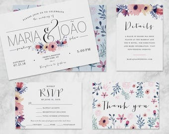 Multicolor Floral Watercolor Wedding Invitations and Wedding Suite - Customizable Printable Wedding Invitation Kit - Digital Download