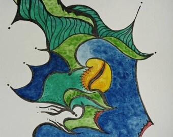 Original ink drawing, watercolour