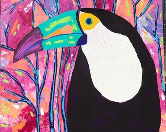 Happy Toucan, Original Acrylic Painting, Bird, Nature, Tree, palette knife. Whimsical painting.