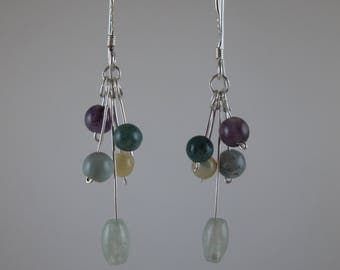 "Agate ""Bouquet"" Earrings on Sterling Silver"