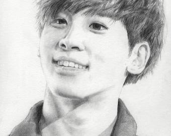 Original Kim Jonghyun Drawing - A5 Framed - SHINee K-Pop