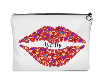 RED LIPS - ABSTRACT - Hearts - Funny Saying - Vintage Saying -Carry All Pouch  Flat