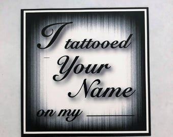 Temporary Name Tattoo Gag Party Novelty