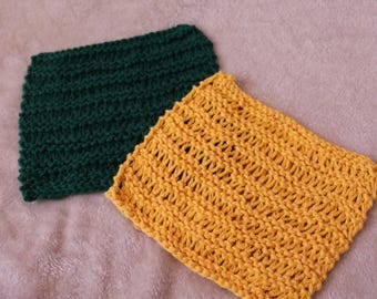 Hand-Knit Cotton Green and Gold Dishcloth Set