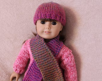 Hand-Knit 18-Inch Doll Hat and Scarf Set