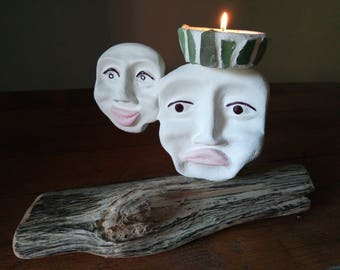 Candle face glue has tile and wood