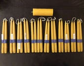 "Candle Lover's package - 12 (twelve) pairs of 9"" (22 cm) Hand-dipped Tapered Beeswax Candles (24 candles in total) PLUS FREE BONUS 5"" Pillar"