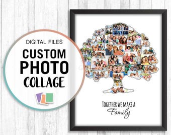 Family Tree Collage, Custom Family Tree Photo, Ancestry Gifts, Photo Collage Gift, Photo Collage Digital File, Collage Photo Gifts, Jpg Pdf
