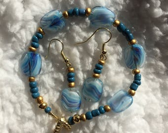 Blue White and Gold Glass Beads Handmade Bracelet And Earrings