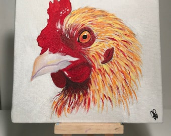 Small Chicken Acrylic Painting On Canvas