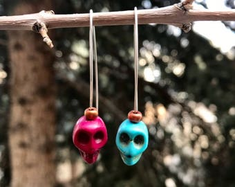 Mismatched Skull Drop Earrings