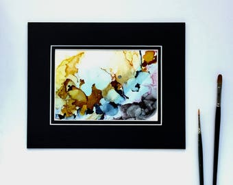 ORIGINAL Abstract Alcohol Ink Painting with Mat -- Wall Decor, Ink Art, Modern Art, Matted Painting