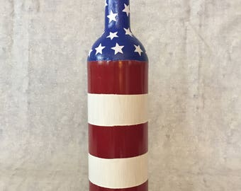 American Flag Wine Bottle