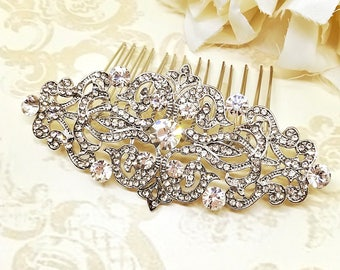 Bridal Hair Comb, Wedding Hair Jewelry, Rhinestones Bridal Hair Comb, Wedding Hair Comb, Crystal Hair Comb, Bridal Hair Piece, Silver Hair