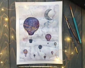 Hot Air Balloon Original Watercolor Nursery Art