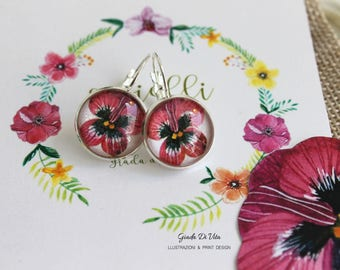 Floral earrings, round earrings, silver earrings, hand made, gift for her, illustrations, watercolor, made in italy, jewelry, art jewelry