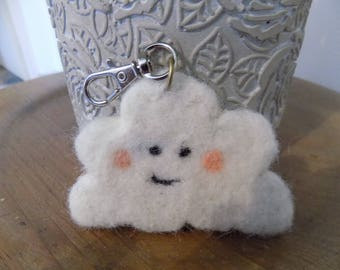 White felted wool cloud keychain