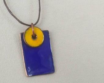 cobalt blue enamel pendant