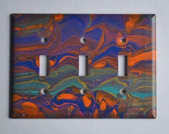 Acrylic pouring on triple toggle wall plate #301