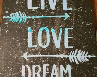 Live love dream 11x14 wall painting