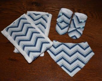 Baby Gift Set: Blue Zig-Zag