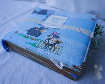 Album, handmade, scrapbooking, paper, cloth, ribbon, scrapbooking, scrap, children, baby, first year of life, child, bright, colored