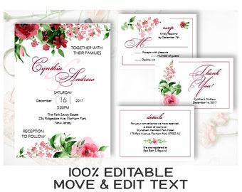 Burgundy wedding invitation set Marsala wedding invite template Peony watercolor wedding invitation printable Boho wedding set - DIGITAL