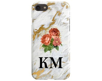 Personalised Liquid Gold Marble Large Floral Initials Phone Case iPhone 5 6 7 8 10 X Samsung S6 S7 Edge S8 Plus