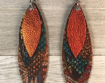 Leather earrings, cow leather, triple layers, Bold statement