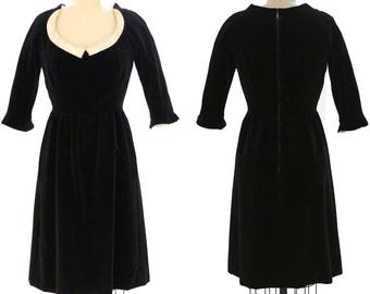 Vintage 1960s Shannon Rodgers Black Velvet Joan Dress / Size S