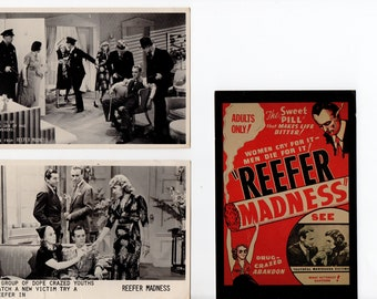 Lot of 3 Reefer Madness Postcards | Unused | Rare Movie Paper Ephemera | Scrapbooking, Altered Art, Collage