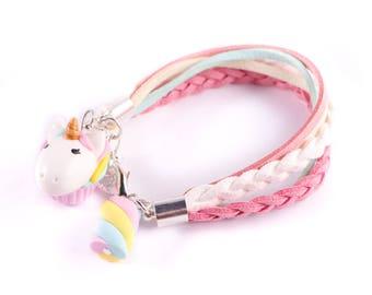 unicorn bracelet, fimo bracelet , cute unicorn gift ,teenager gift , sweet bracelet, sweet jewelry, fimo unicorn, unicorn cupcake,kawaii