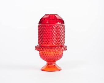 Viking Diamond Point Fairy Light in Ruby, Candle Holder, Votive, Lantern