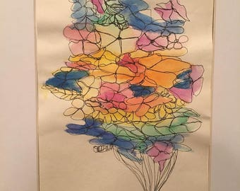 Abstract Flowers Watercolor Painting (Original)