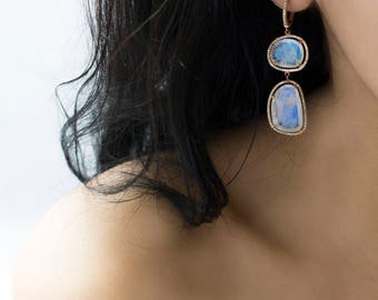 Quartz Moon Earrings