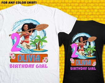 Moana / Iron On Transfer / Girl Birthday Shirt Design / DIY Shirt / High Resolution / For Any Color T Shirt / 12 Hours Turnaround Time