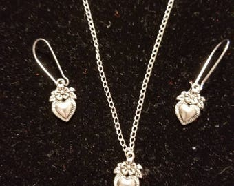 "Boutique...Order Now for Valentine... Silver Alloy Flowered Heart Charm  18"" Silver Coated Necklace with Matching Earrings Set"
