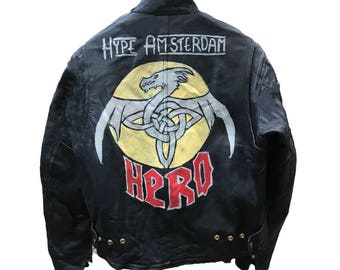 Hand-painted leather jacket